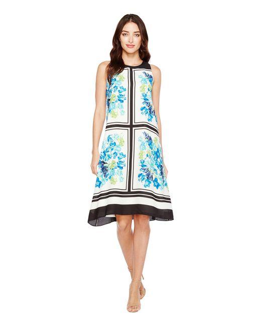 Cece - Blue Whispering Tile Blooms Halter Dress - Lyst