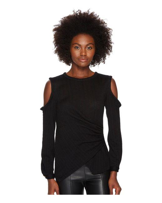 Yigal Azrouël - Black Star Knit Jacquard Cold Shoulder Top - Lyst