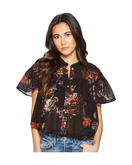 Free People - Black Sweet Escape Button Down Top - Lyst