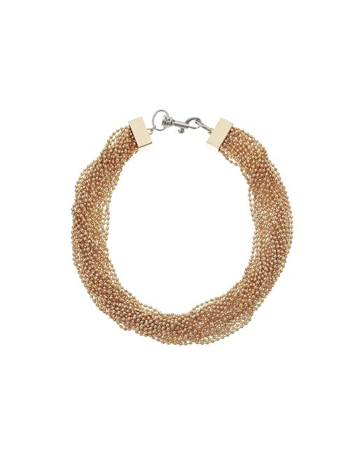 Steve Madden - Metallic Beaded Layered Interlock Lobster Necklace - Lyst