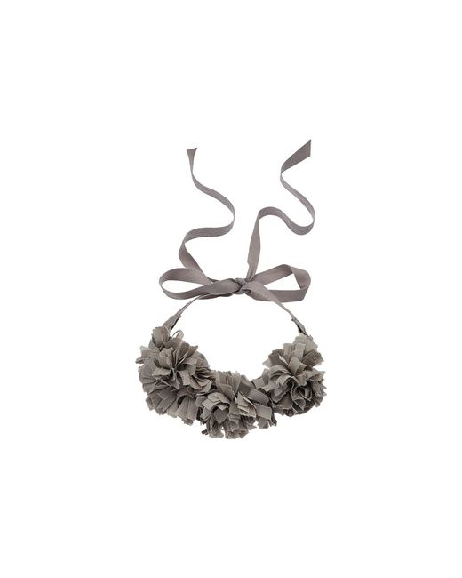 """French Connection - Gray Pom Pom Collar Necklace 18"""" - Lyst"""