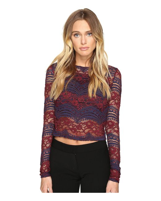 Romeo and Juliet Couture   Red Long Sleeve Crop Lace Top   Lyst