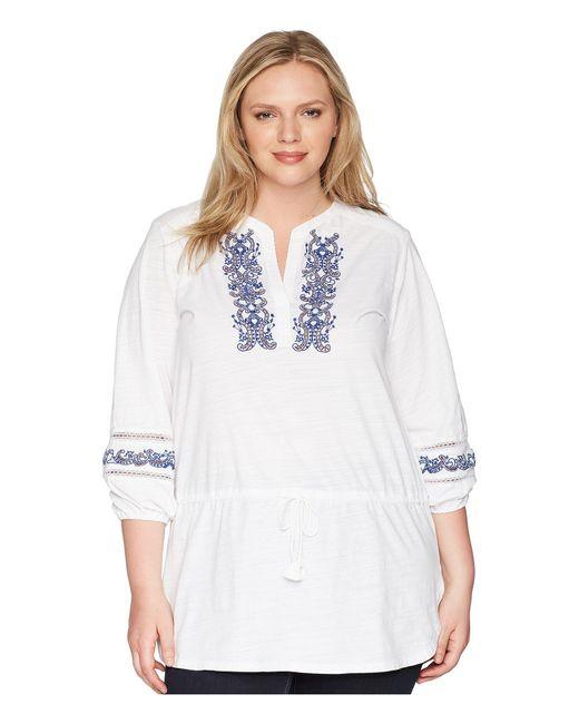 Lauren by Ralph Lauren - White Plus Size Embroidered Cotton Top - Lyst