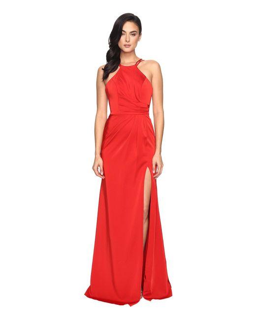 Faviana - Red Faille Satin Halter 7904 - Lyst