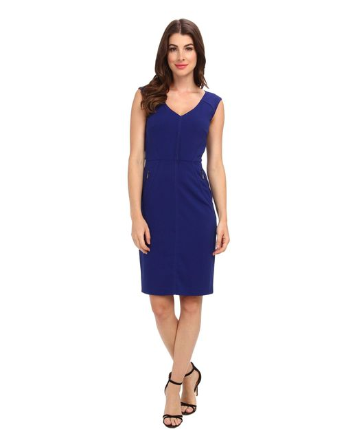 Laundry by Shelli Segal | Blue Modern Seamed Crepe Dress | Lyst