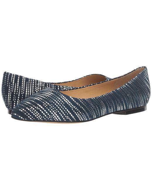 Trotters | Blue Estee Metallic Foil Suede Flats | Lyst