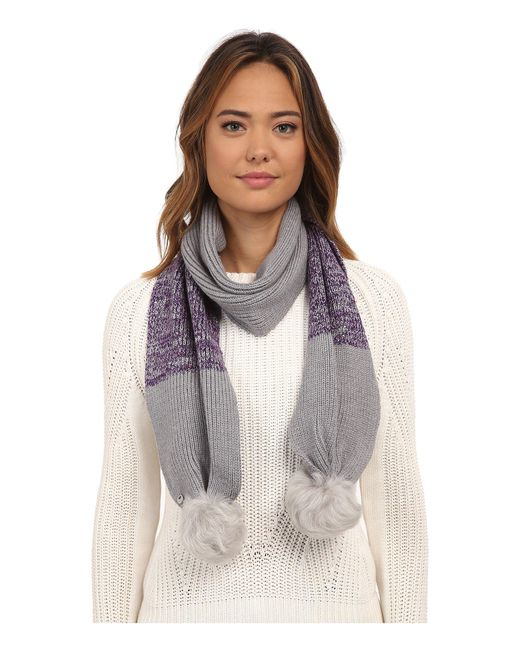 Ugg | Gray Classic Marled Scarf W/ Sequins And Fur Pom | Lyst