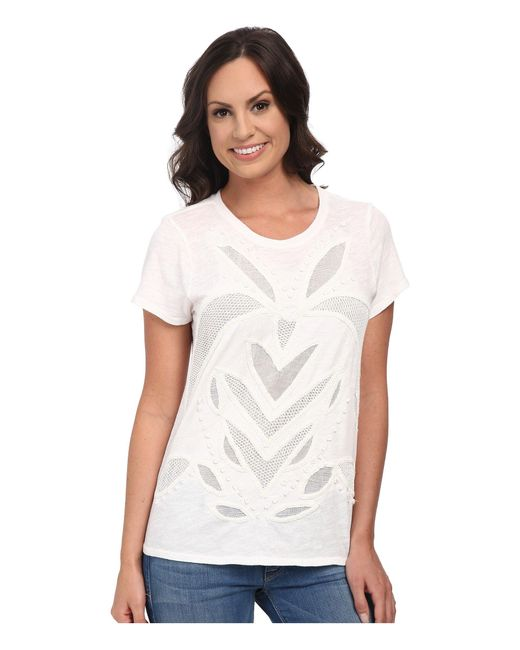 Lucky Brand | White Cut Out Mesh Top | Lyst