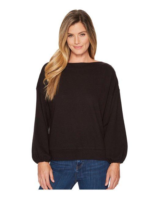 Lanston - Black Drawstring Sleeve Pullover Top - Lyst