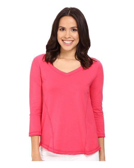 Mod-o-doc | Pink Supreme Jersey Seamed V-neck Long Sleeve Tee | Lyst