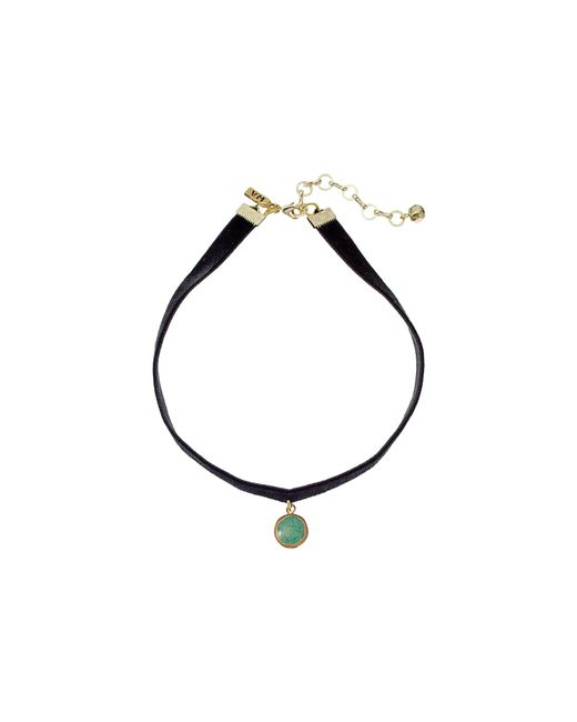 Vanessa Mooney | Black Velvet Choker With Small Circle Turquoise Charm Necklace | Lyst