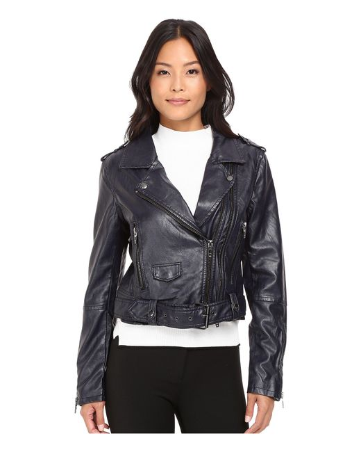 Blank NYC | Blue Moto Vegan Leather Jacket In Uninvited | Lyst