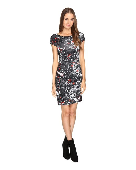 Just Cavalli   Black Short Sleeve Cat And Tails Printed Jersey Dress   Lyst