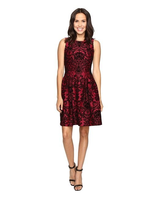Rsvp | Red Martina Pleated Fit And Flare Flocked Dress | Lyst