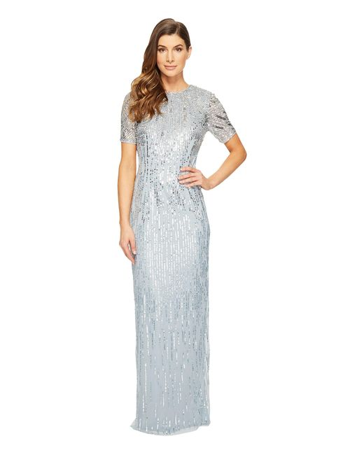 Adrianna Papell | Blue Ombre Sequin Column Gown With Elbow Length Sleeves | Lyst