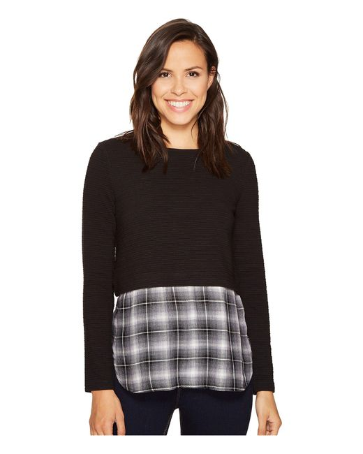 Romeo and Juliet Couture | Black Knit Shirt Combo Top | Lyst
