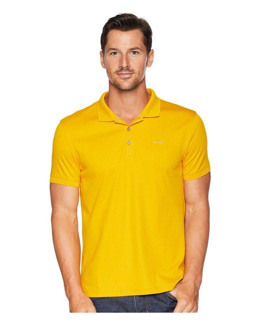 Calvin Klein - Yellow Liquid Touch Polo Shirt for Men - Lyst