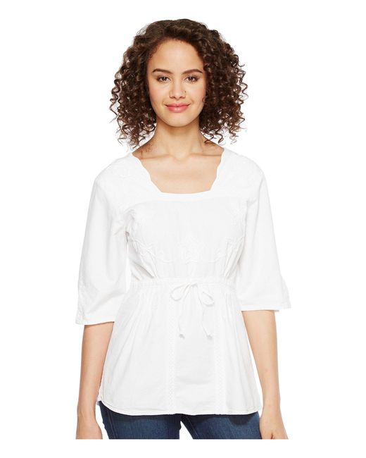 Scully - White Cantina Carla 3/4 Sleeve Top - Lyst