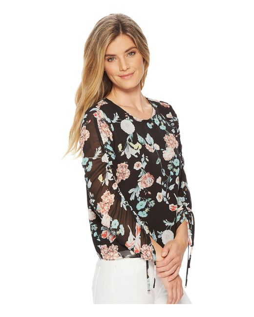 a22cf96cb95 ... Vince Camuto - Black Drawstring Sleeve Floral Gardens Blouse - Lyst ...