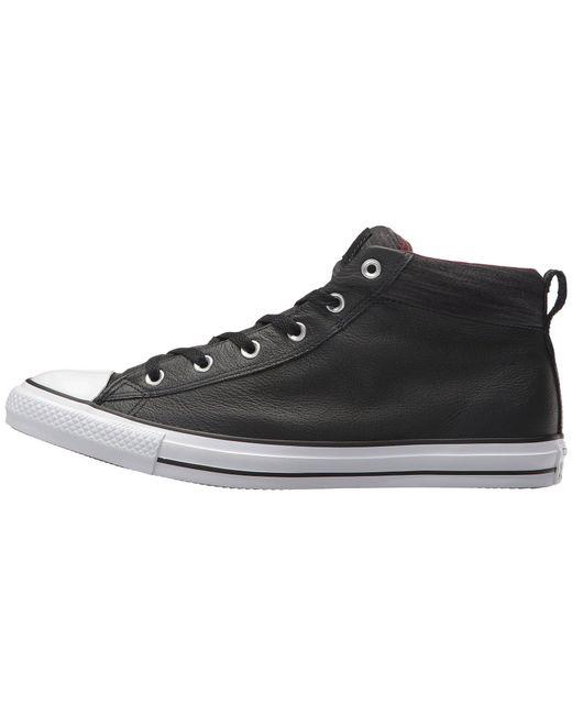 e29d2f9fff57 ... Converse - Black Chuck Taylor® All Star® High Street Leather W  Fleece  Mid ...