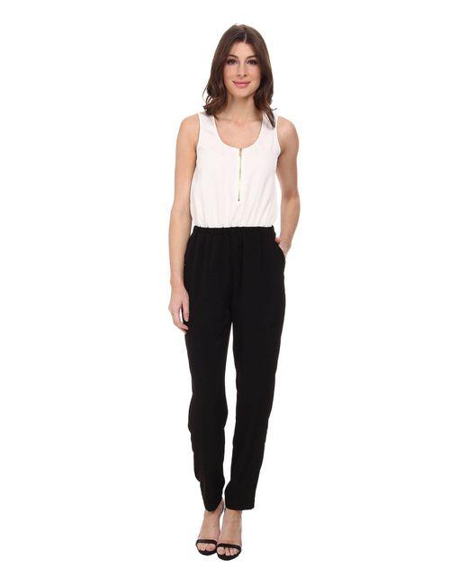 Calvin Klein - Black Pebble Crepe Color Block Jumpsuits - Lyst
