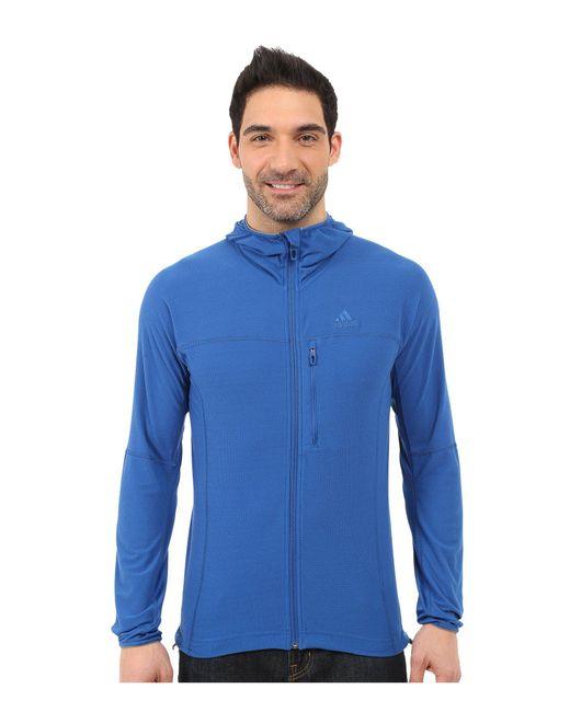 Adidas Originals - Blue Terrex Swift 37.5 Fleece Hoodie for Men - Lyst