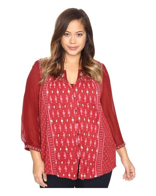 Lucky Brand | Red Plus Size Border Print Top | Lyst
