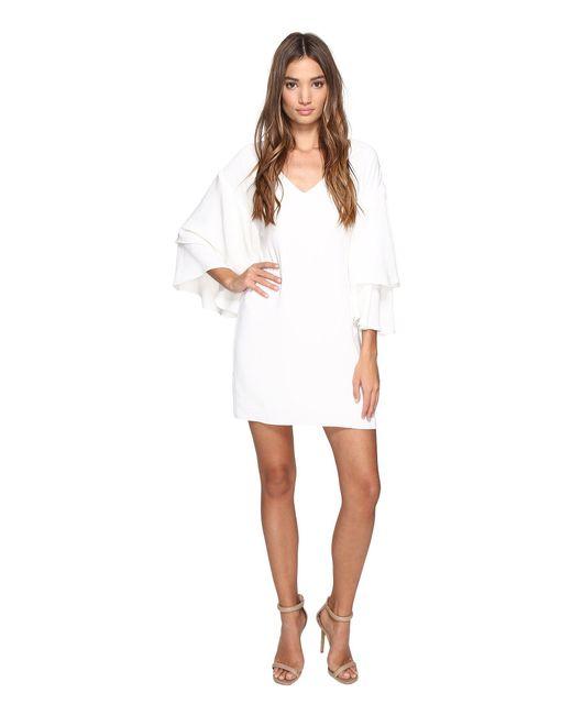 Laundry by Shelli Segal - White Drop Shoulder Ruffle Bell Sleeve Dress - Lyst
