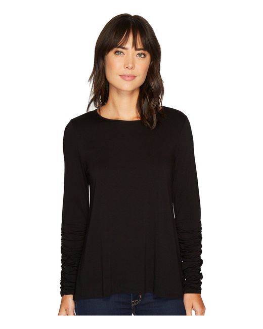 Vince Camuto - Black Long Ruched Sleeve High-low Hem Top - Lyst