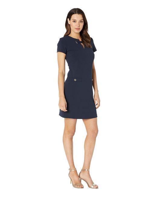 8c231ec5655 ... Tommy Hilfiger - Blue Plus Size Scuba Crepe Pocket Shift Dress - Lyst  ...