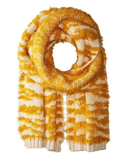 BCBGMAXAZRIA - Yellow Textured Animal Knit Muffler - Lyst