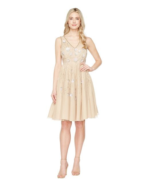 Adrianna Papell - Natural Sleeveless Tea Length Beaded Dress - Lyst