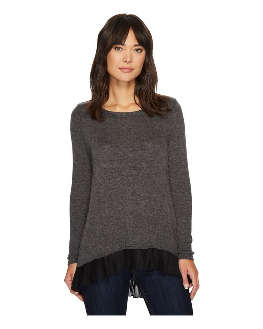 Mod-o-doc - Black So Soft Sweater Knit Long Sleeve Sweater With Pleated Contrast Hem - Lyst