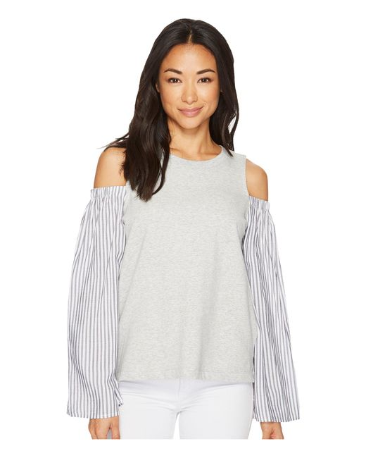 e45c728ffc0 Two By Vince Camuto - Gray Striped Bell Sleeve Mix Media Cold Shoulder Top  - Lyst ...