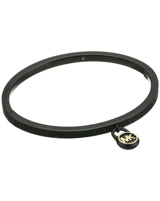 Michael Kors - Black Steel & Pave Padlock Bracelet - Lyst