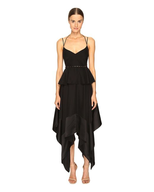 Prabal Gurung - Black Thin Strap Hankerchief Hem Dress - Lyst