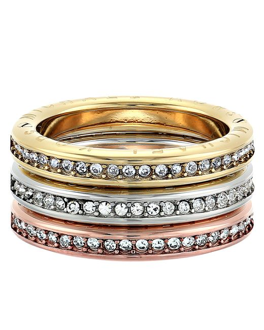 Michael Kors - Metallic Tri-tone And Pave Logo Grommet Stack Ring Set - Lyst