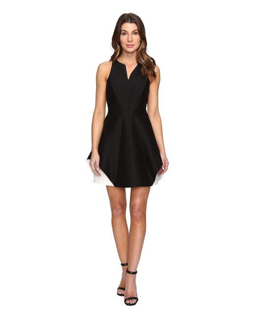 Halston Heritage | Black Sleeveless Organic Notch Neck Color Blocked Dress | Lyst