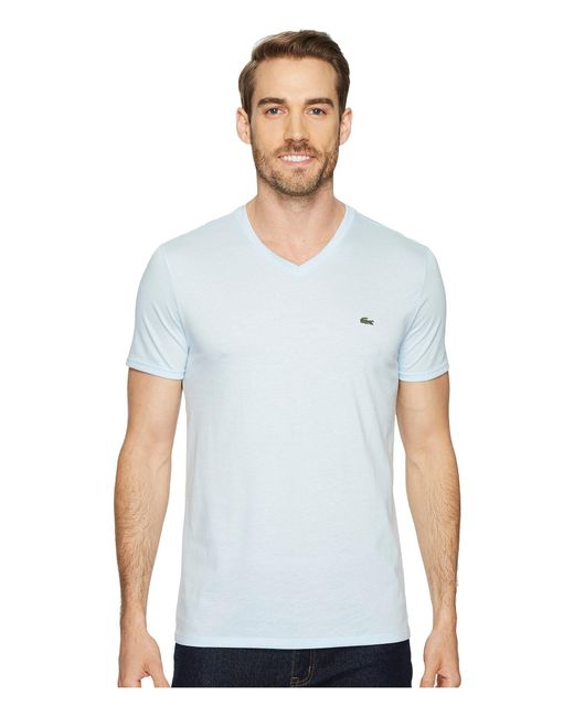 384bcdfc5caf Lyst - Lacoste Short Sleeve V-neck Pima Jersey Tee in Blue for Men ...