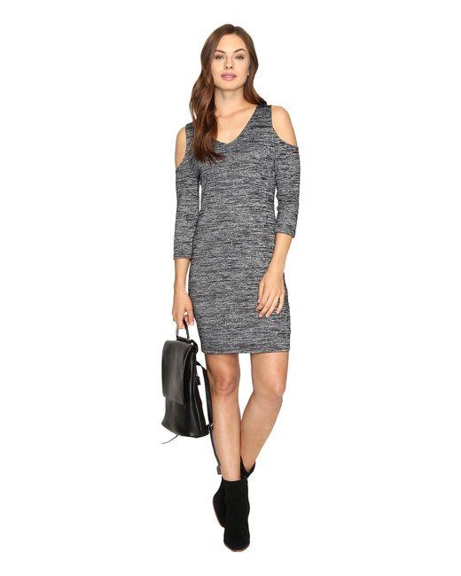 Kensie - Black Space Dye Jersey Dress Ksdk7418 - Lyst