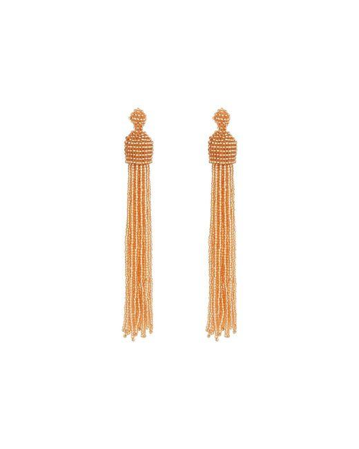 Kenneth Jay Lane - Metallic Champagne Bead Tassel Direct Post Ear Earrings - Lyst