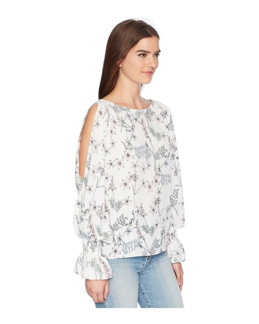 63365a3700501 ... Vince Camuto - White Long Sleeve Flare Cuff Cold Shoulder Botanical  Floral Blouse - Lyst