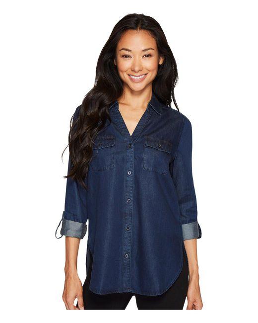 NYDJ - Blue Denim Shirt W/ Pockets - Lyst