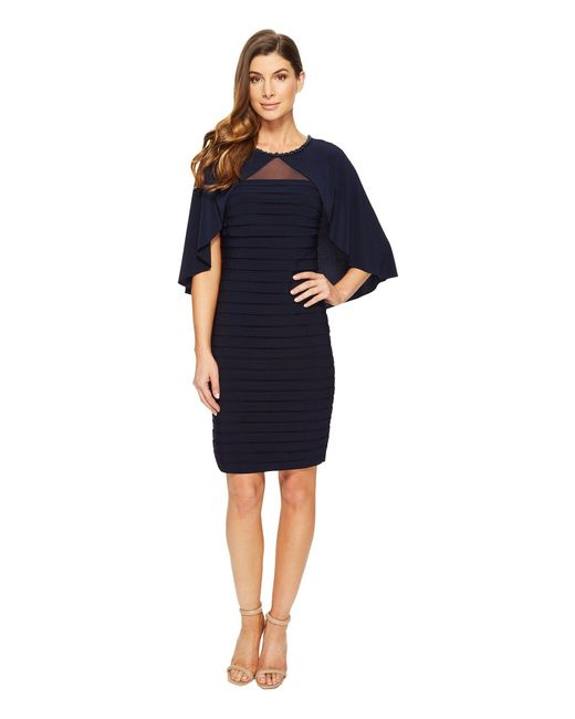 Adrianna Papell - Blue Matte Jersey Banded Cape Dress - Lyst