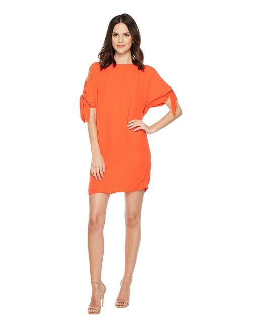 Vince Camuto | Orange Crepe Knotted Sleeve Shift Dress | Lyst