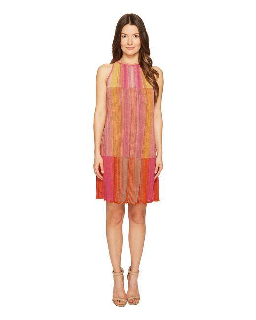 M Missoni - Pink Multicolor Plisse Sleeveless Dress - Lyst