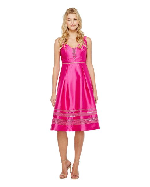 Adrianna Papell - Pink Mikado And Lace Cocktail Dress - Lyst