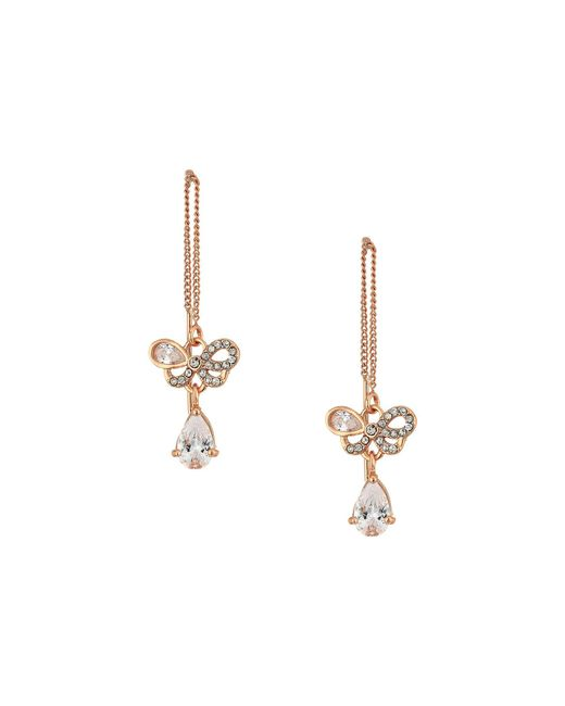 Betsey Johnson - Metallic Blue By Rose Gold Bow And Crystal Stone Threader Earrings - Lyst