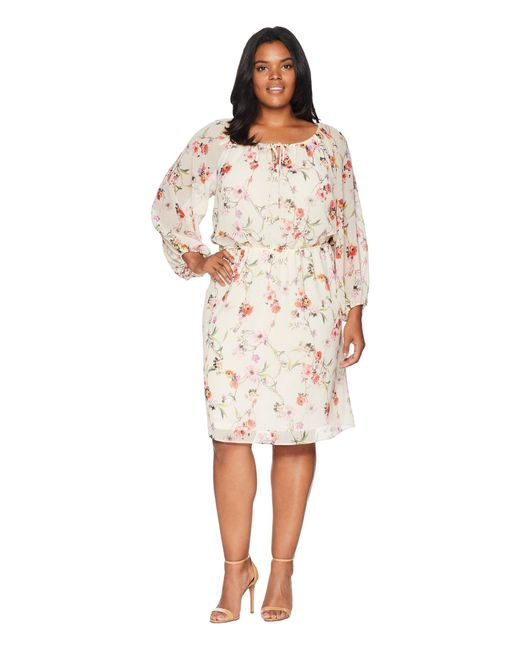 Lyst - Adrianna Papell Plus Size Bontia Oasis Peasant Dress in White