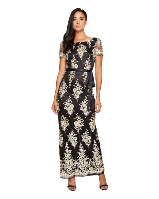 Tahari - Black Embroidered Sheath Gown - Lyst